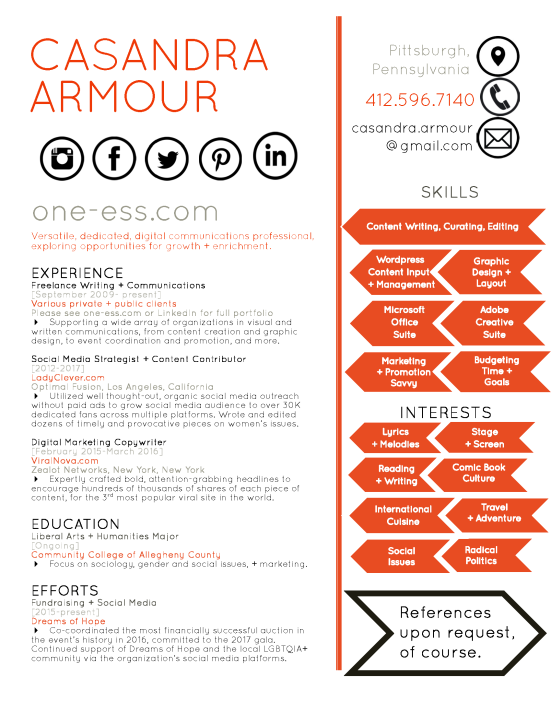 casandra armour unique resume 2017